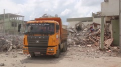 Workers looking for survivors in rubble, Ecuador quake Stock Footage