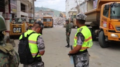 Large clean up effort starting after the 2016 Ecuador quake - stock footage