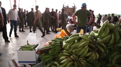 Soldiers dispensing supplies, Ecuador quake 2016 - stock footage
