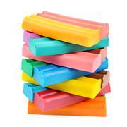 Set of colored plasticine Stock Photos