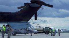 Military base with airplanes and helicopters Arkistovideo