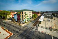 View of buildings in downtown Reading, Pennsylvania. Stock Photos
