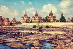 Royal cenotaphs of Orchha,  Madhya Pradesh, India Stock Photos