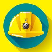 Yellow construction worker helmet with flashlight icon. Flat design style. Stock Illustration