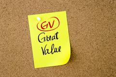 Business Acronym GV Great Value - stock photo