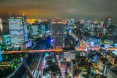 Abstract blur Aerial view bokeh lights, Tokyo city, Japan Kuvituskuvat