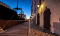 Street in the port of Gdansk at night Stock Photos