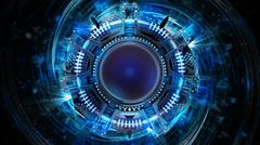abstract blue powerful spherical technology vision  - stock illustration