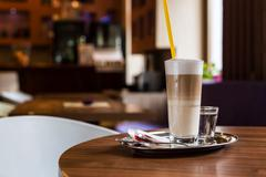 Coffee latte in a coffee shop Stock Photos