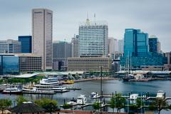View of the Inner Harbor from Federal Hill Park, in Baltimore, Maryland. Stock Photos