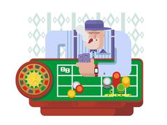 Gambler playing roulette - stock illustration