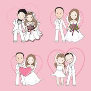 wedding cartoon, bride and groom holding each other's hands with happy face - stock illustration