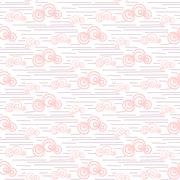 Baby vector seamless pattern. Pastel pink fun windy sky clouds print for textile - stock illustration