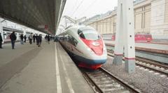 Aeroexpress Train Sapsan At The Station Stock Footage