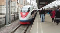 Aeroexpress Train Sapsan And Passengers Stock Footage