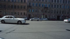 White Luxury Car On A City Street - stock footage