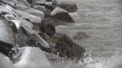 GeorgianBay Winter Waves SuperSlowMotion 240FPS 1080HD Stock Footage