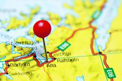 Alta pinned on a map of Norway - stock photo