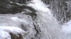 HoggsFalls GreyCounty IceWaterFalls CanadaWinter Tight SuperSlowMotion 240FPS Stock Footage