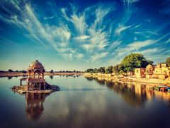 Indian landmark Gadi Sagar in Rajasthan - stock photo