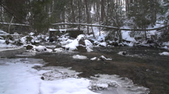 HoggsFalls GreyCounty IceRiver CanadaWinter Tight SuperSlowMotion 240FPS 1080 Stock Footage