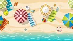 Seamless beach resort with colorful beach umbrellas Stock Illustration