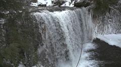 HoggsFalls GreyCounty IceWaterFalls CanadaWinter Wide SuperSlowMotion 240FPS Stock Footage