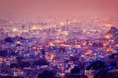 Aerial view of Jodhpur in twilight - stock photo