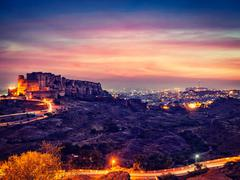 Mehrangarh fort in twilight. Jodhpur, India - stock photo