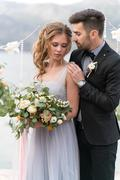 Beautiful caucasian couple just married Stock Photos