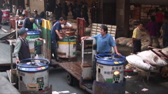 Tsukiji fish market. Tokyo, Japan. The biggest wholesale fish and seafood market Stock Footage