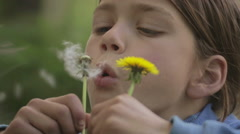 Emotional portrait of a European teenager with a flower dandelion. Stock Footage