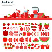 Red healthy food on the table - stock illustration