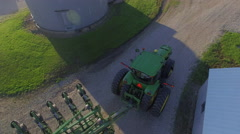 Midwest Farm Tractor Aerial Stock Footage