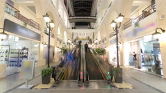 Motion escalators at the modern shopping mall timelapse hyperlapse Stock Footage