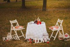 Beautiful photobooth in autumn city park Stock Photos