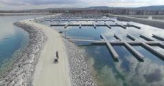 MountainView YachtClub Marina GeorgianBay BikeTrailer Drone Aerial 4K Stock Footage