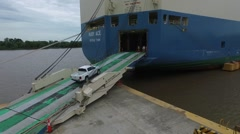Aerial drone view from an export  cargo ship that it's been loaded with pick up Stock Footage