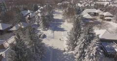 Winter Walking GeorgianBay Collingwod Canada Drone Aerial 4K Stock Footage