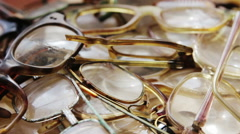 Many old used glasses Stock Footage