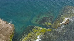 High angle of the Pacific rocky seacoast Stock Footage