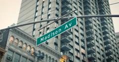 Madison Avenue Street Sign Stock Footage