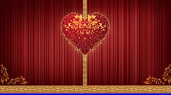 Curtain heart Opens and closes the curtain. Stock Footage