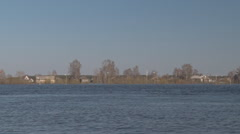 The far Northern village flooded with water during the spring flood in Northern  - stock footage
