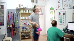 family at veterinary - stock footage