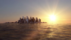 view of the city on the bay. Beautifull sunset. Realistic water animation - stock footage