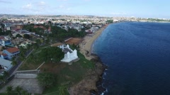 Flying over Mont Serrat Fortress in Salvador, Bahia, Brazil Stock Footage