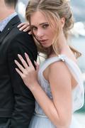 beautiful caucasian couple just married - stock photo