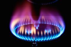 kitchen gas burner flame - stock photo