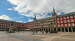 Tourists visit famous place Plaza Mayor  in Madrid, Spain Stock Footage